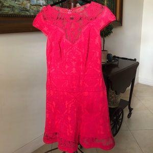 Hot pink midi dress.